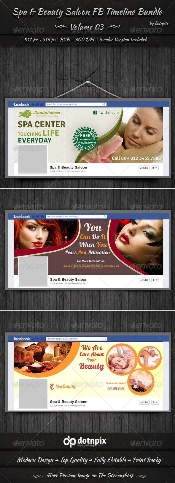 GraphicRiver Spa & Beauty Saloon FB Timeline Bundle Volume 3 6997525