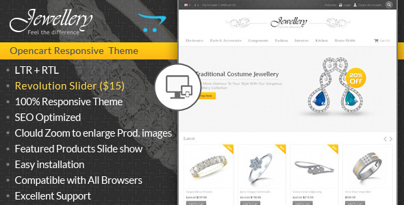 ThemeForest Jewellery Opencart Responsive Template 7000576