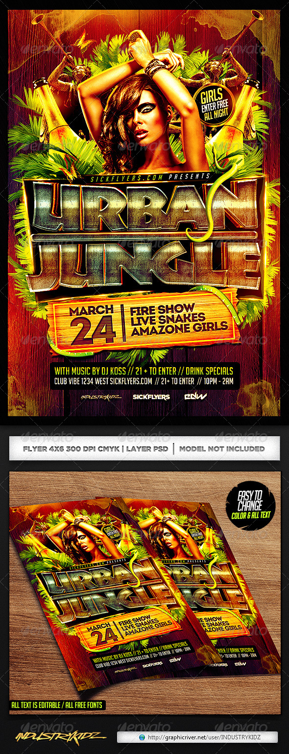 GraphicRiver Jungle Party Flyer PSD 7000730