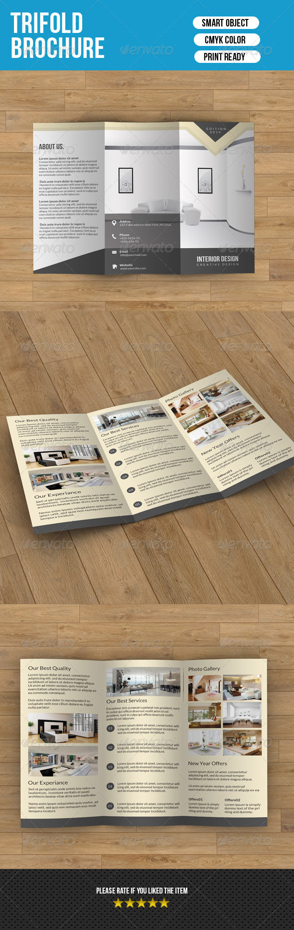 Minimal Trifold-Interior Design V2 - Corporate Brochures