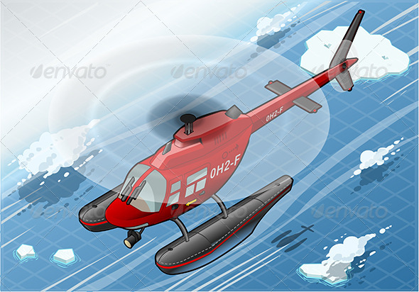 GraphicRiver Isometric Emergency Helicopter in Front View 7000749