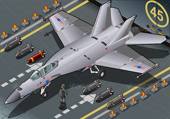 GraphicRiver Isometric Fighter Bomber Landed in Front View 7000780