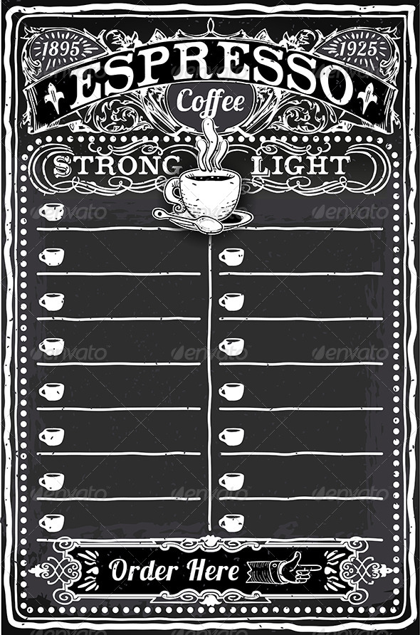 GraphicRiver Vintage Hand Drawn Blackboard for Espresso Menu 7000797