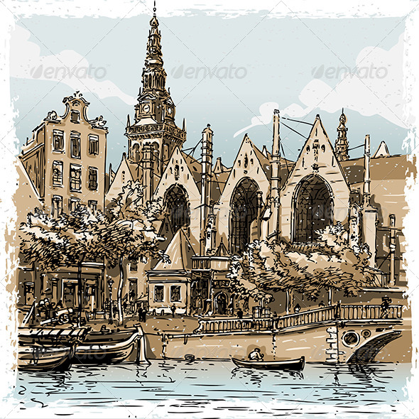 GraphicRiver Vintage Hand Drawn View of Old Church in Amsterdam 7000836