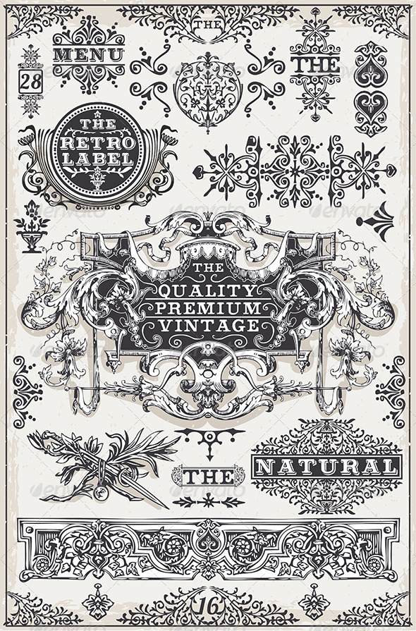 GraphicRiver Vintage Hand Drawn Graphic Banners and Labels 7000953