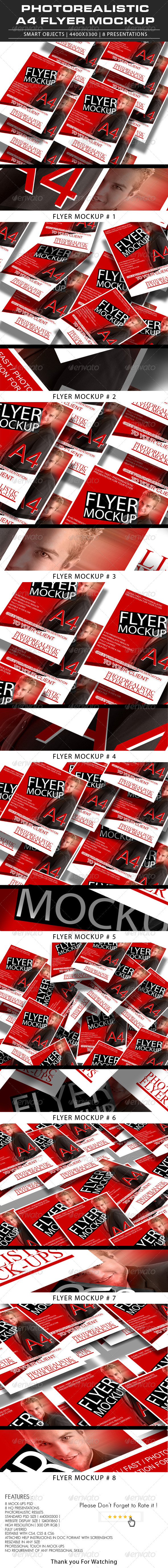 GraphicRiver Photorealistic A4 Flyer Mockup 6994068