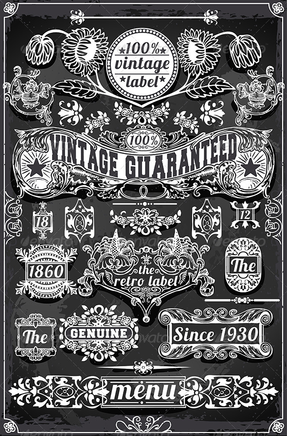 GraphicRiver Vintage Hand Drawn Graphic Banners and Labels 7001105