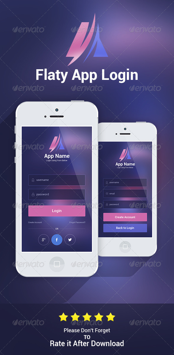 GraphicRiver Flaty App Login 6993850