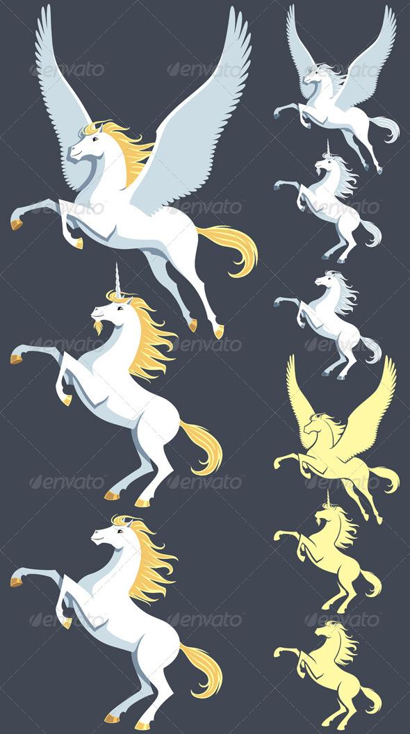 GraphicRiver Pegasus Unicorn Stallion 7002047