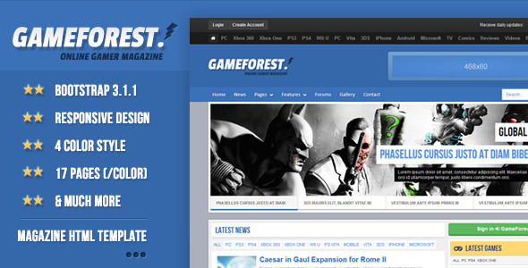 GameForest - Online Magazine HTML Template - Creative Site Templates