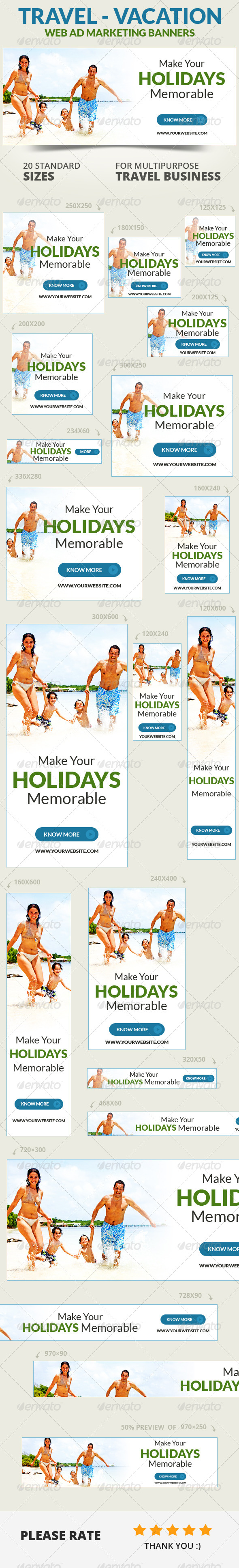 Travel Vacation Web Ad Marketing Banners Vol 2