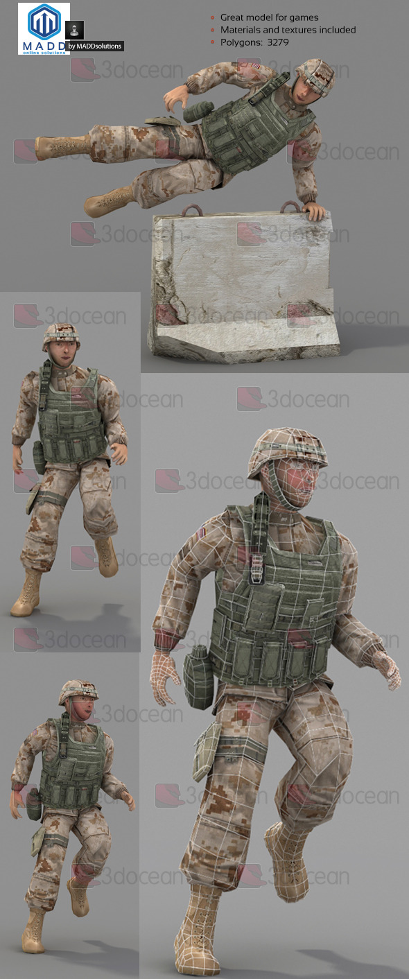 3DOcean Rigged Low Poly Soldier With Vest and Helmet 6998956