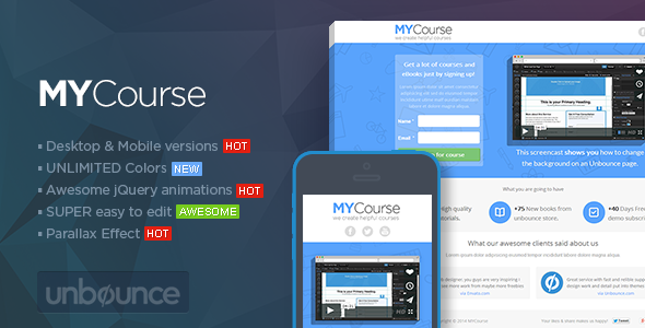 MYCourse - Unbounce eCourse Landing page Template - Unbounce Landing Pages Marketing