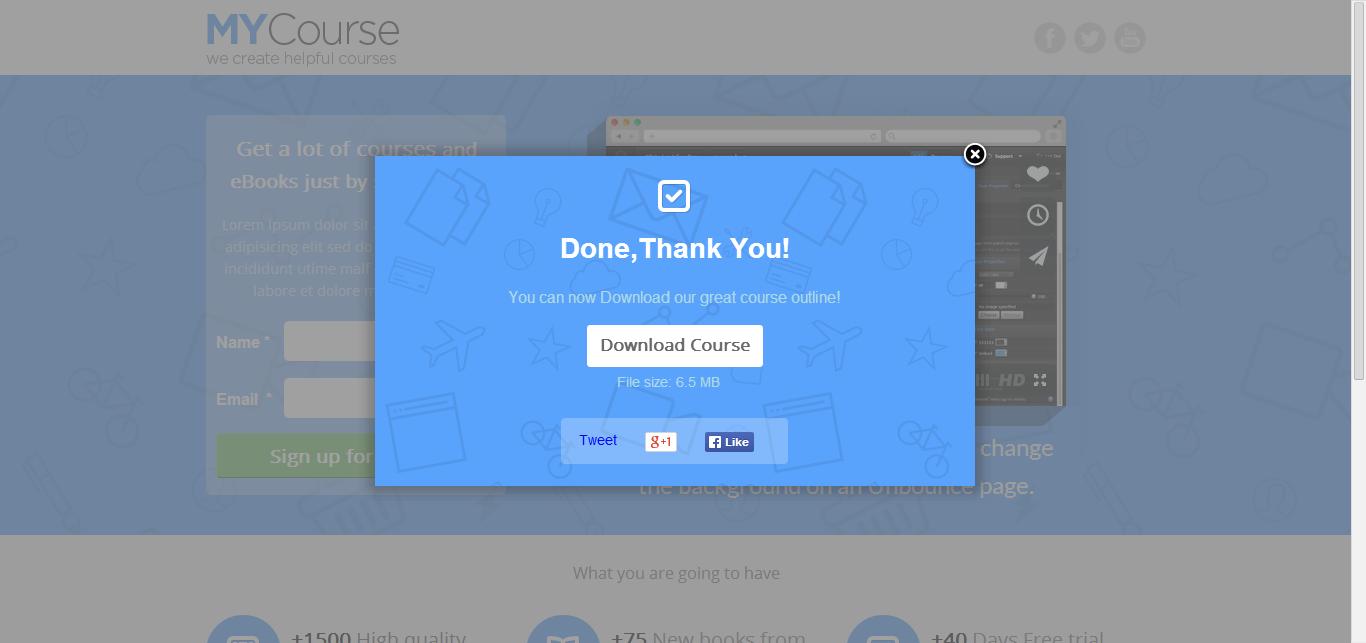 MYCourse - Unbounce eCourse Landing page Template