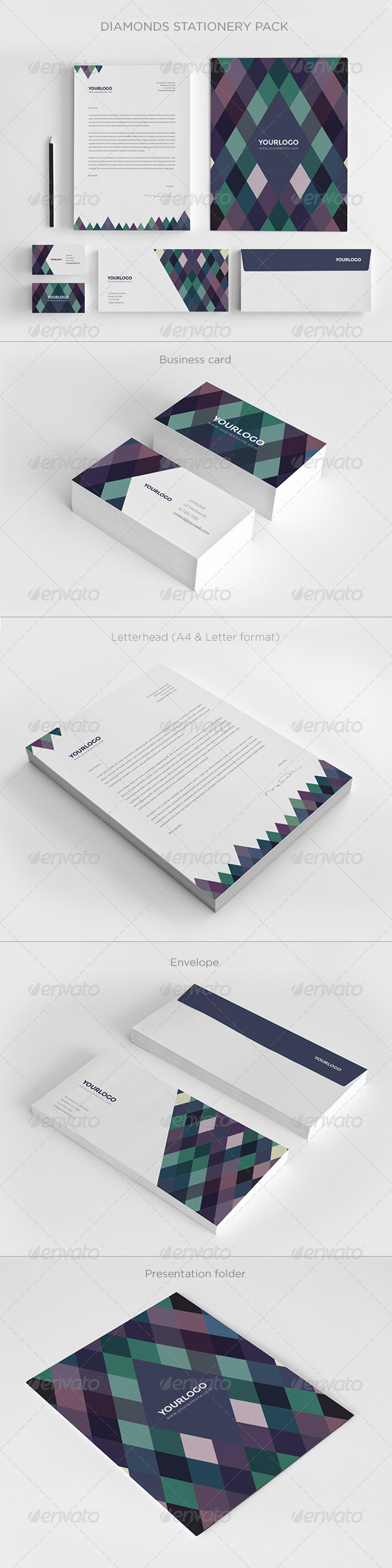 GraphicRiver Diamonds Stationery Pack 7003580