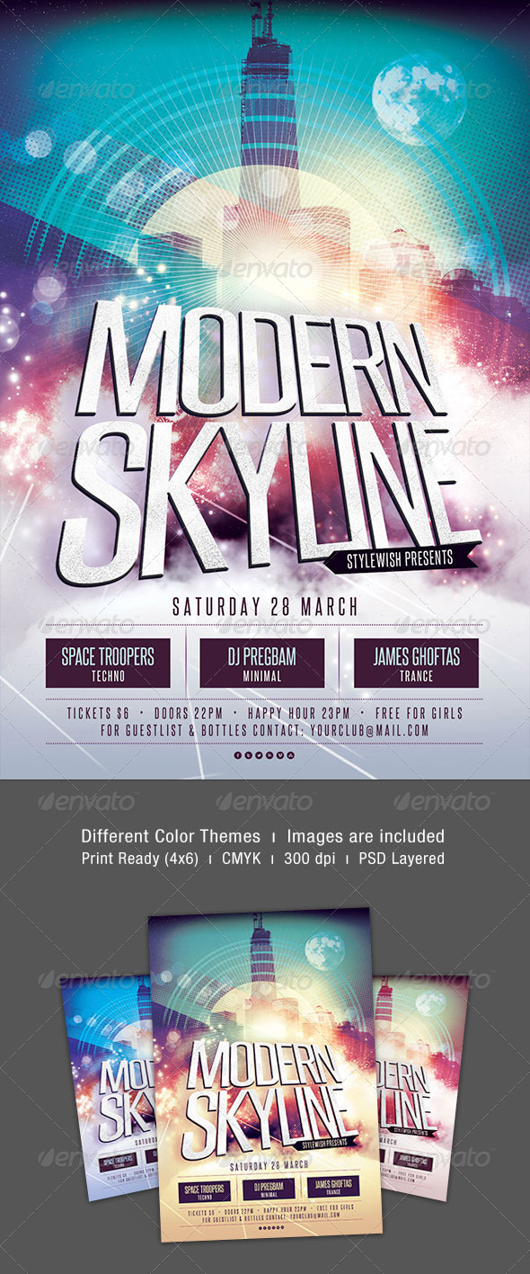 Modern Skyline Flyer Template - Clubs & Parties Events