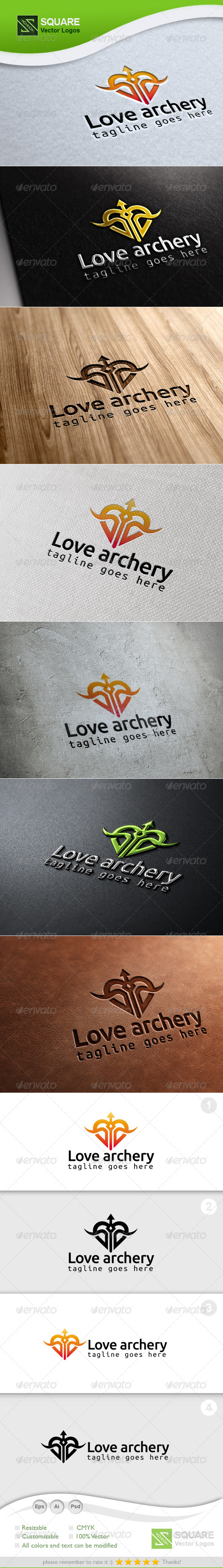 Love, Archery Vector Logo Template - Symbols Logo Templates
