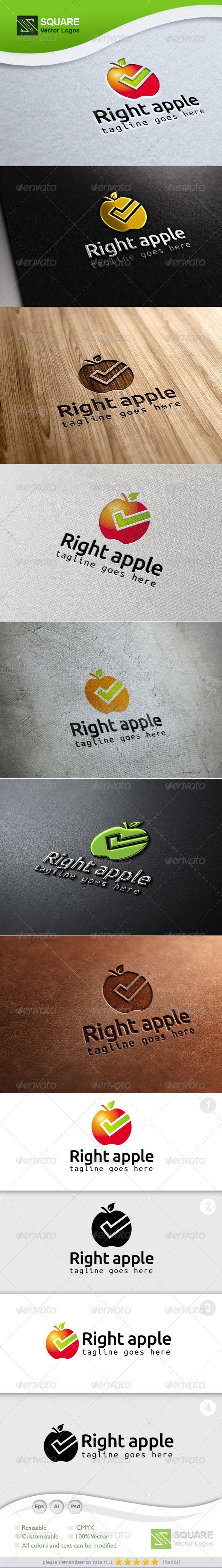 GraphicRiver Right Apple Vector Logo Template 7005359