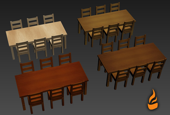 3DOcean Table and Chair pack 7005642