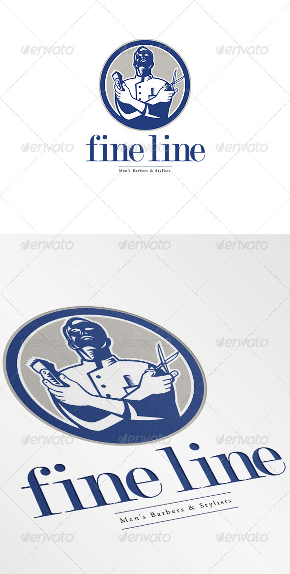 GraphicRiver Fineline Men s Barbers and Stylists Logo 7005702