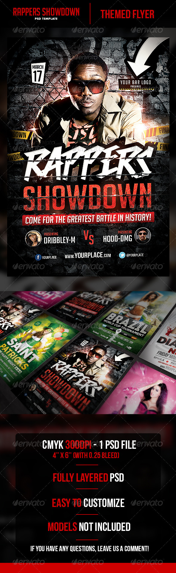 Rappers Showdown Flyer Template  - Flyers Print Templates