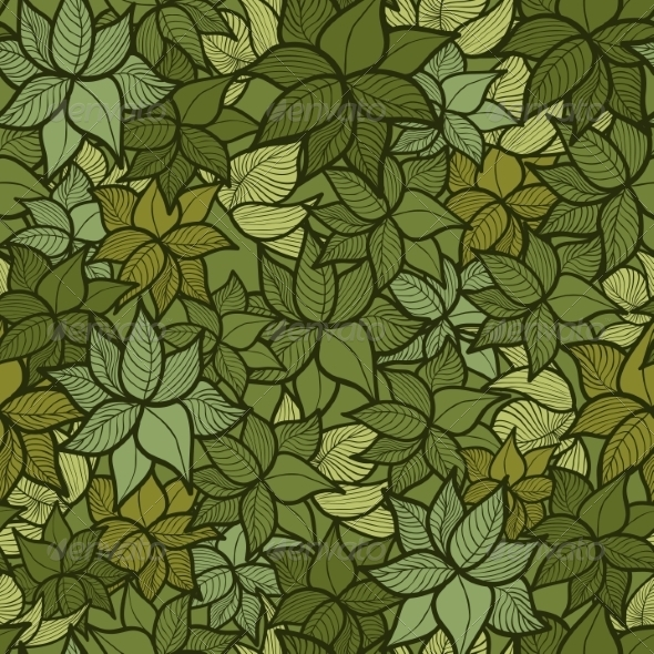 GraphicRiver Seamless Green Leaves Pattern 7005880