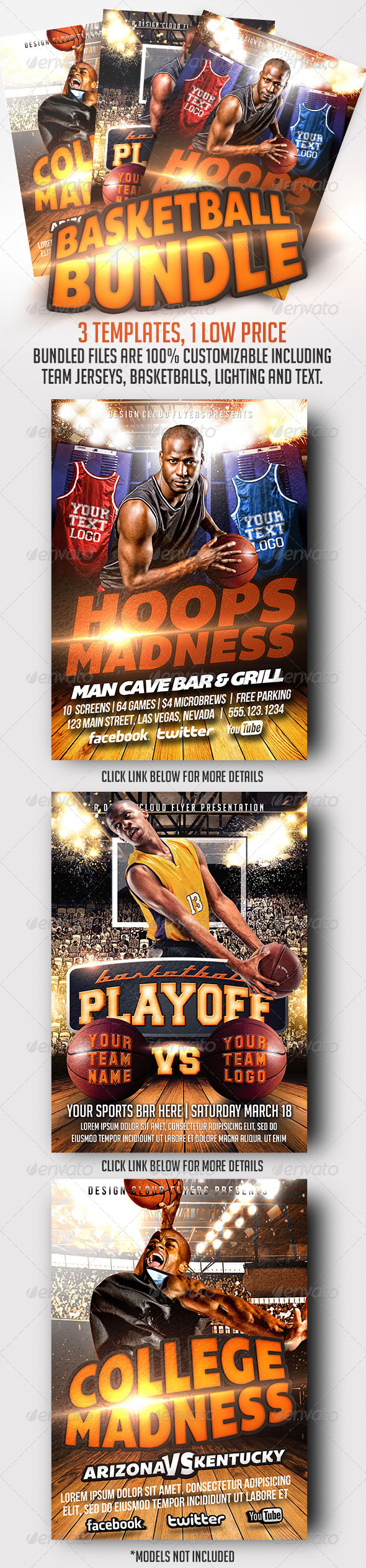 GraphicRiver Basketball Flyer Template Bundle 7005909