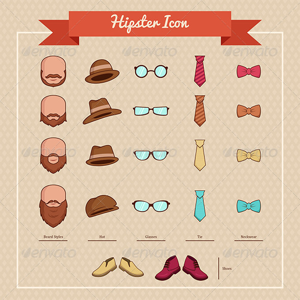 GraphicRiver Hipsters Icons 6984875
