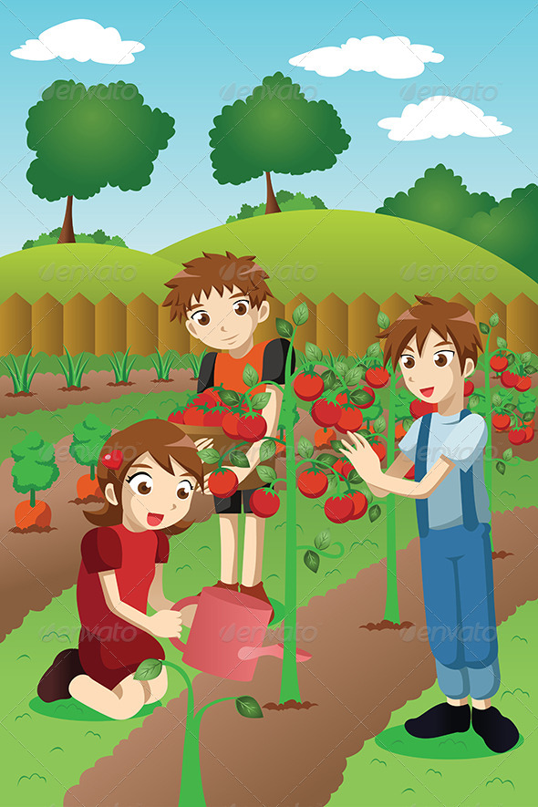 GraphicRiver Kids Planting Vegetables and Fruits 6985308