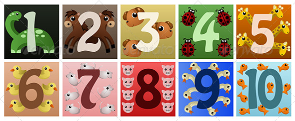GraphicRiver Numbers with Animals 6985396