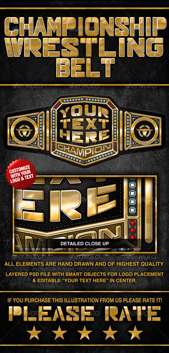 championship wrestling belt graphics designs template
