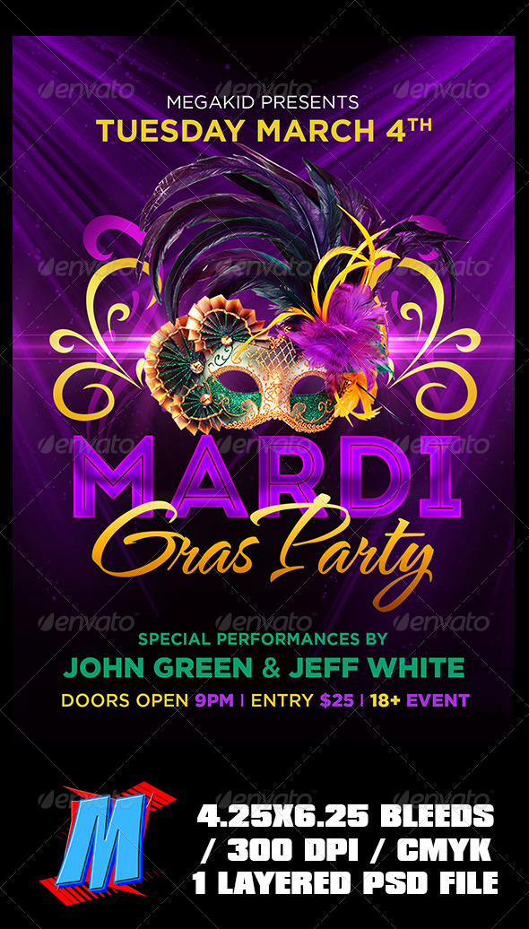 GraphicRiver Mardi Gras Party Flyer Template 7006460