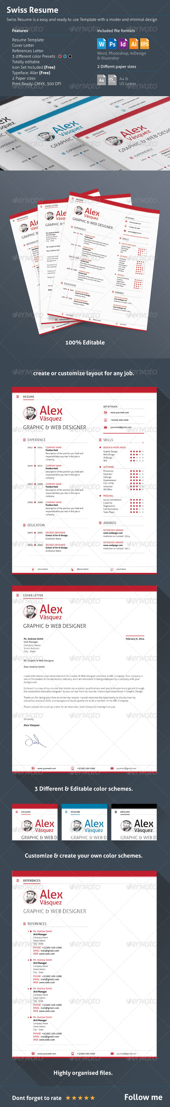 GraphicRiver 3 Piece Swiss Style Resume CV 6972560