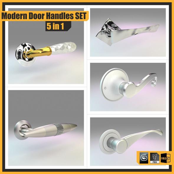 3DOcean Modern Door Handles Set 5 in 1 7006619