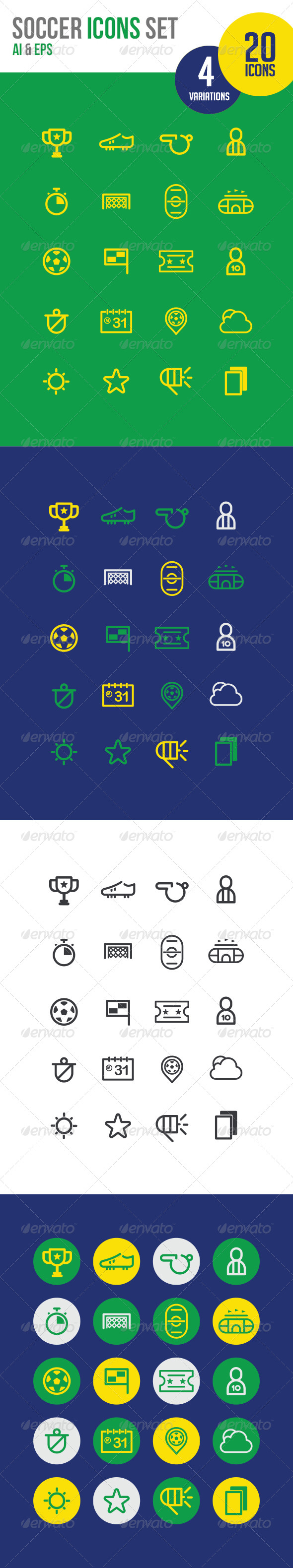 GraphicRiver 20 Soccer Icons line 7007626