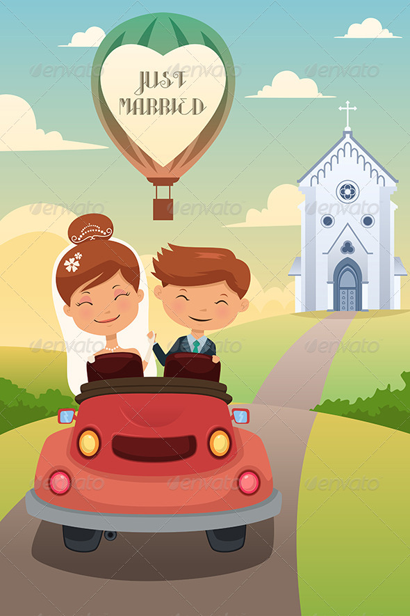 Bride and Groom Riding a Car after Wedding