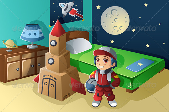 GraphicRiver Kid Dressed in Astronaut Costume 7008060