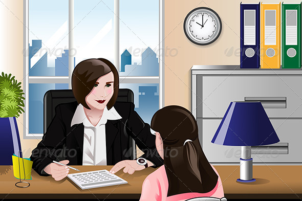 GraphicRiver Woman Having a Job Interview 7008064