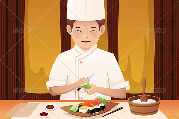 GraphicRiver Sushi Chef Working in a Restaurant 7008074