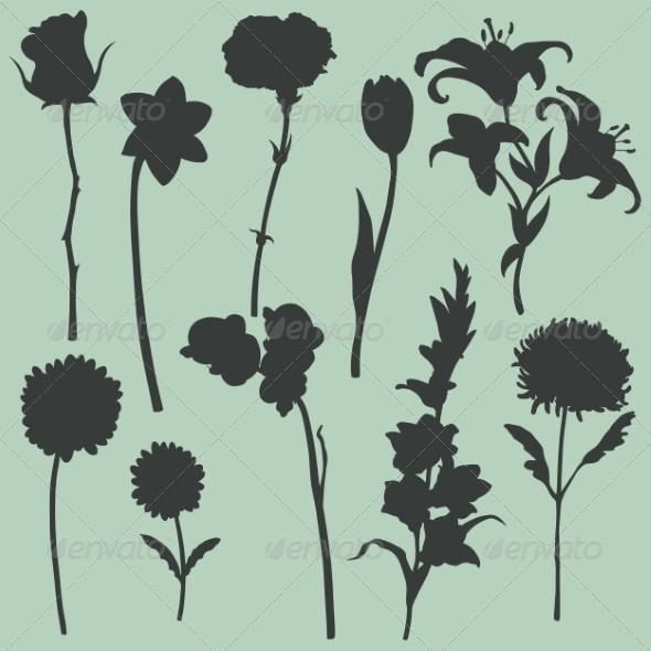 GraphicRiver Set of Flower Silhouettes 7008218