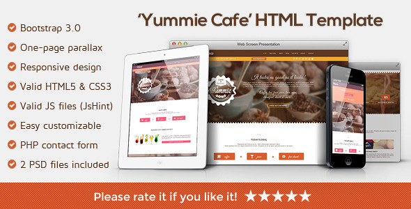 Yummie - One Page Animated Parallax HTML Template - Restaurants & Cafes Entertainment