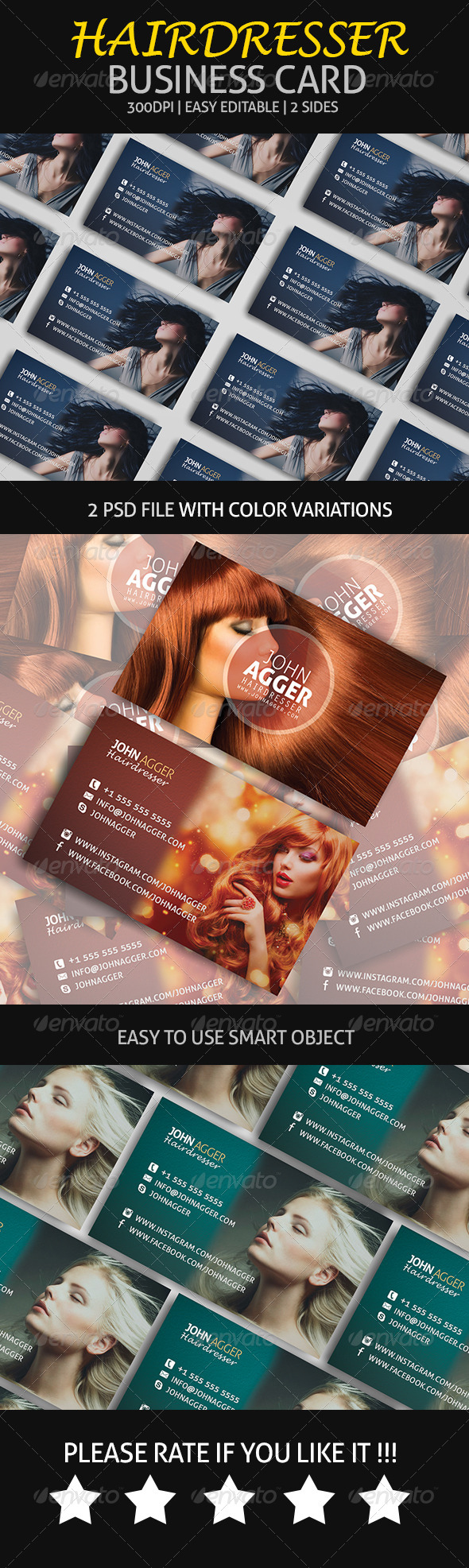 GraphicRiver Hairdresser Business Card 6987772