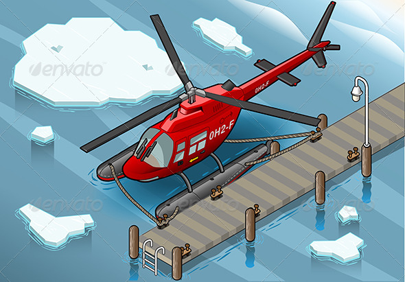 GraphicRiver Isometric Arctic Emergency Helicopter at Pier 7009128