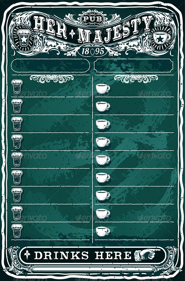 GraphicRiver Vintage Hand Drawn Board for Pub Menu 7009204
