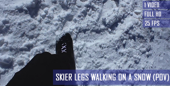 Skier Legs Walking On The Snow POV