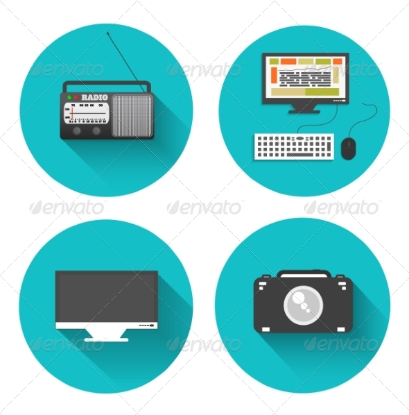 GraphicRiver Set of Radio Monitor Computer Camera 7009547