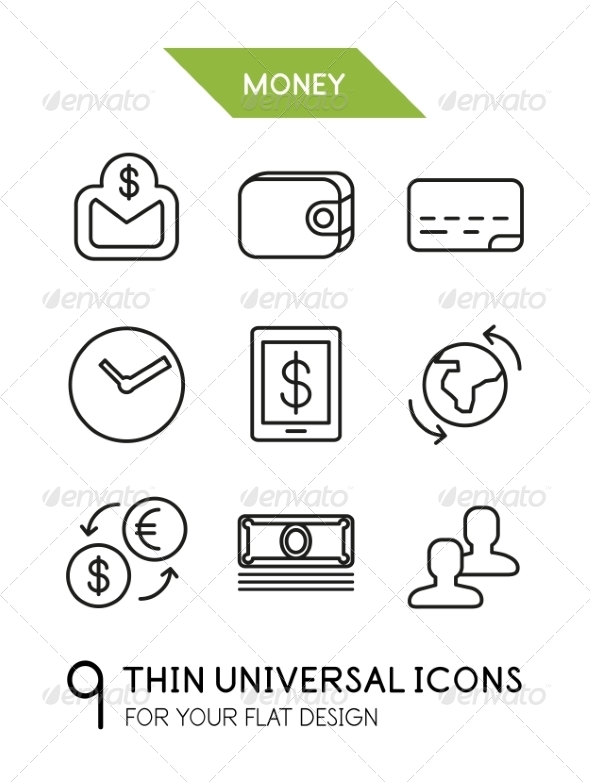 GraphicRiver Collection of Money Finance Icons 7009643
