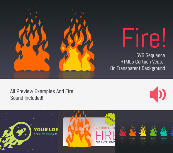 CodeCanyon Cartoon Vector Fire HTML5 Edge Banner Animation 7009644