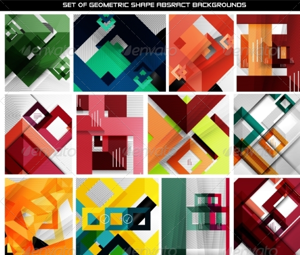 GraphicRiver Collection of Geometric Abstract Backgrounds 7009687