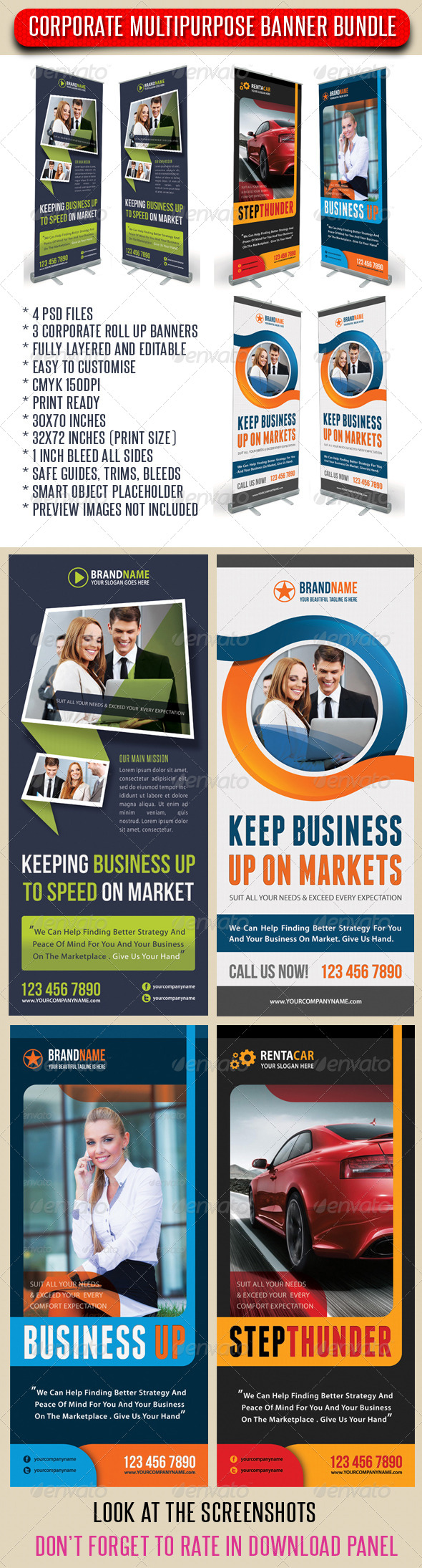 GraphicRiver 3 in 1 Corporate Rollup Banner Bundle 01 7009829